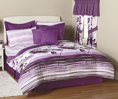 COMFORTER SET PURPLE & WHITE - KING SIZE 20 Pieces (BRAND NEW, STILL IN ORIGINAL CASE, NEVER O...