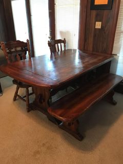 Dining table with bench and 2 chairs