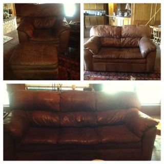 leather sofa, loveseat, over-sized chair and ottoman