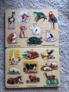 2 kids matching picture learning puzzles