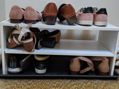 White shoe rack, two levels
