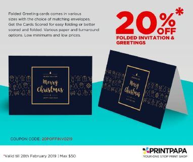 20% Off on Full Color Printed Folded Invitation Card