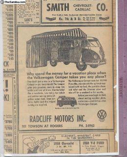 1959-1961 Radcliff Westy Westfalia Sales Ad