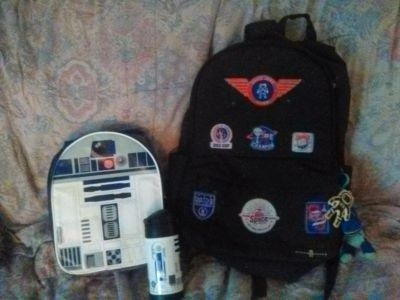 Outer space Boy Backpack with Star Wars Lunch box and thermos