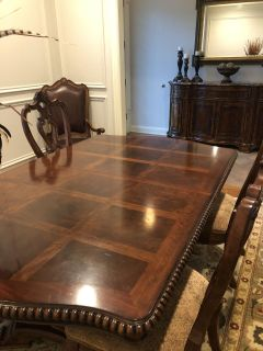 Villa Cortina Double Pedestal Dining Table and chairs