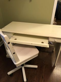 REDUCED! Adorable cream/white colored Pottery Barn distressed desk with Pier One Rolling Chair
