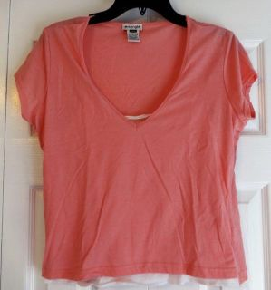 Jrs XL Pink v-neck cap-sleeved shirt with attached faux white cami
