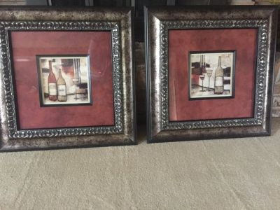 2 Framed Wine Theme Pictures - Artwork