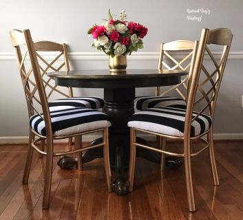 Round Dark Wood Table and Chair Set