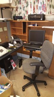 Large computer desk and chair