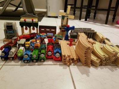 Thomas the Train trains and wooden tracks