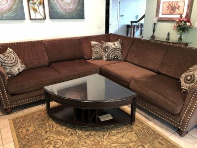 Sectional couch with coffee table