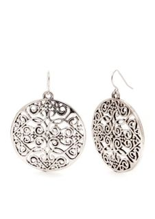CLEARANCE ***BRAND NEW***Round Large Disc Filligree Drop Earrings***