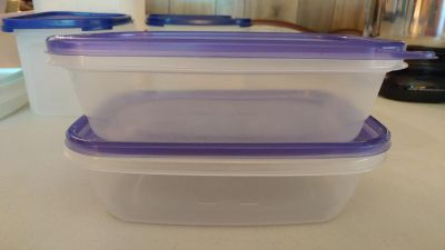 2 Rectangular Food Storage Containers - Each holds 4 Cups / 32 oz.