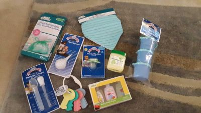 Assorted baby items. This would make a great baby shower gift.