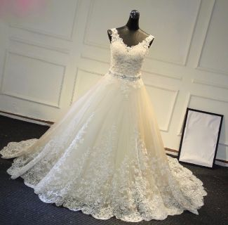 Katerina's Lace A Line V Neck Wedding Gown
