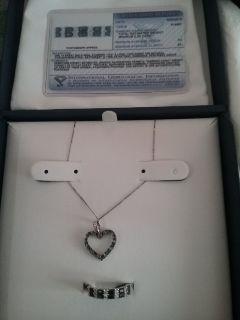 14 karat white gold sapphire necklace & ring