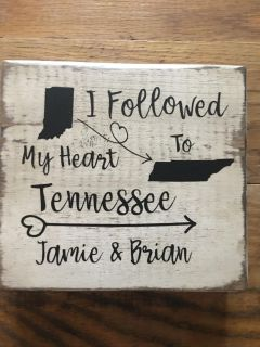 Customized distressed sign 5x6. Your state and names