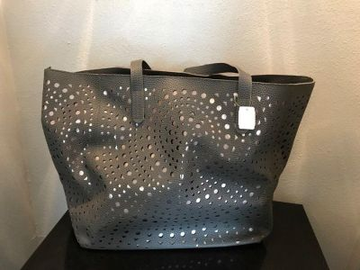 Grey tote with rose gold color cut out underlay NEW