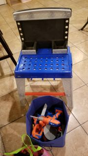 Kids tool bench with tools