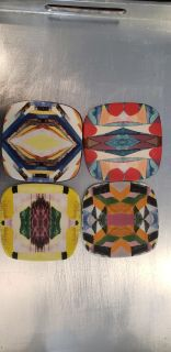 """Set of 4 Anthropologie 4"""" x 4"""" Porcelain Coasters. All Different."""