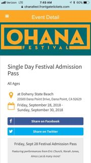 2 tickets to the OHana festival in dana point!