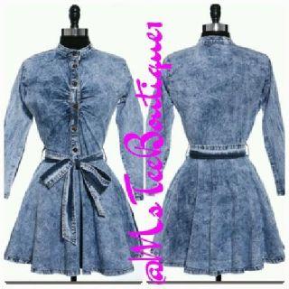 Denim Knee Length Long Sleeve Dress