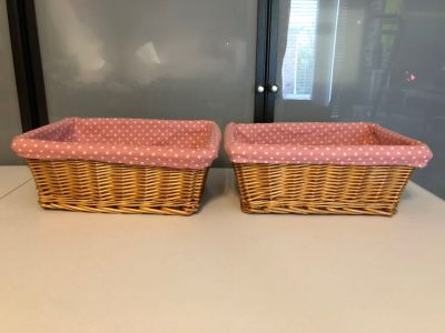 2 wicker baskets with removable pink polka dot liners