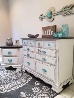 Farmhouse 6 drawer dresser and nightstand