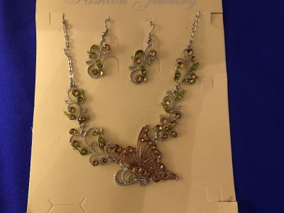 Sterling Silver Butterfly Statement Necklace. New