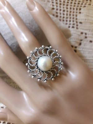 Sterling Pearl Ring/7