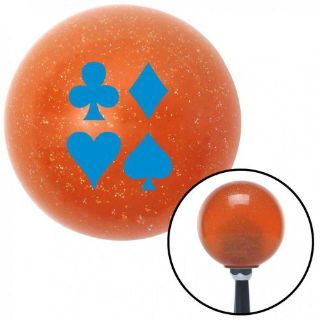 Sell Blue Card Symbols Orange Metal Flake Shift Knob with 16mm x 1.5 Insert motorcycle in Portland, Oregon, United States, for US $29.97