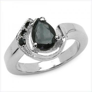Sterling Silver 1.15 CTW Sapphire Size 7 Designer Ring
