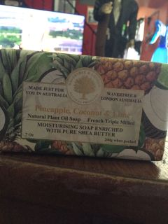 Pineapple coconut and lime Shea soap made no Australia have the full-size bar number three