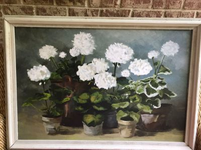 Beautiful white geranium picture in wood frame