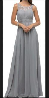 Dancing Queen 9111 Gray Silver Empire XS Formal Bride's Maid Prom Long Gown