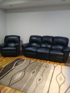 Leather couch and recliner dark blue