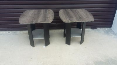 Pair of Matching End Tables with Black Base and Weathered Wood Tops.