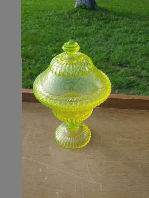 Vintage canary yellow dish with lid