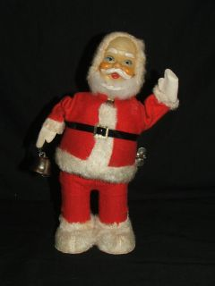 Vintage Wind-up Tin Toy Santa Ringing a Bell