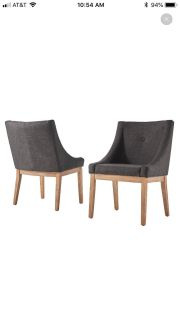 2 charcoal grey linen and wood chairs