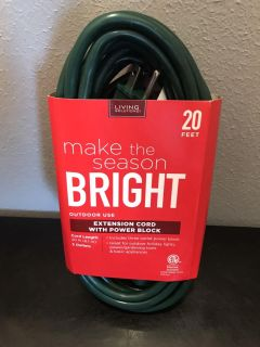 20ft Extension cord with power block NEW