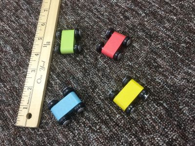 Set of 4 unique, flat vehicles, wooden, both sides of the car are flat, in GUC, $2.00