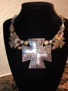 Costume Jewelry Pewter Cross/Iron Cross Necklace