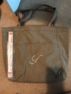 Army green tote Initial T