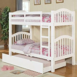 NEW GIRLIE WHITE BUNK BED  TRUNDLE