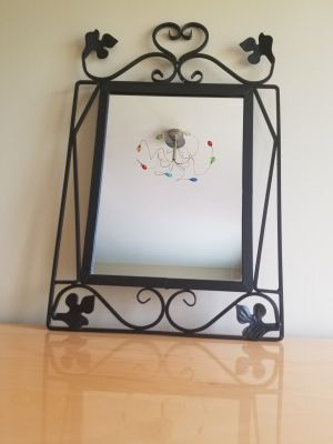 DECORATIVE MIRROR IN WROUGHT IRON FRAME - BRAND NEW!