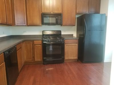 4 PIECE APPLIANCE SET BLACK-FRIG, STOVE, MICROWAVE & DISHWASHER