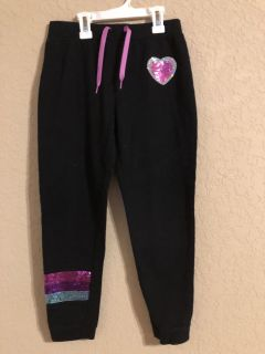 Black With Pretty Sequence Drawstring Pants. Like New Condition. Size Medium