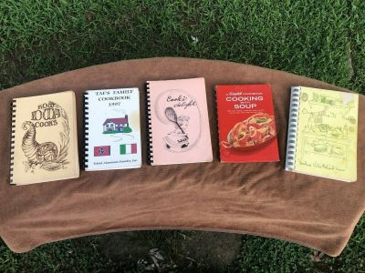 LOT OF (5) VINTAGE SPIRAL BOUND COOKBOOKS, MIXED LOT, Some FUND RAISERS,